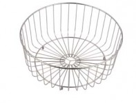 (ET07) Space saving inset reversible round single bowl kitchen sink and drainer WB11 Bowl Wire Basket