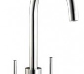 (HS945) Modern rounded twin lever kitchen tap mixer