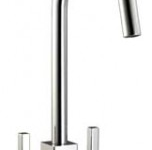 (HS955) Modern squared twin lever kitchen tap mixer